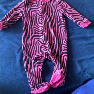 Leveret baby pink zebra fleece sleeper